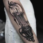 Big Candle Arm Tattoo