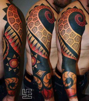 Black Orange Ornament Tattoo