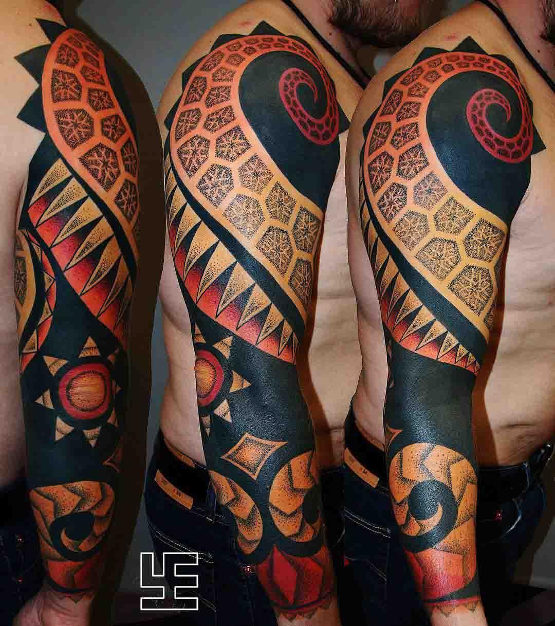 dotwork tattoo black ornament