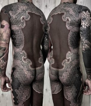 Black and Ornament Tattoo Full Back
