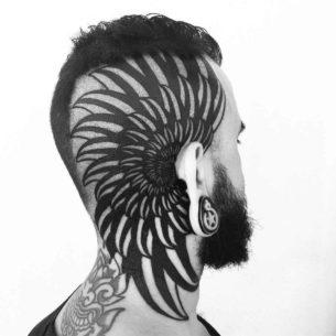 Blackwork Tattoo on Head