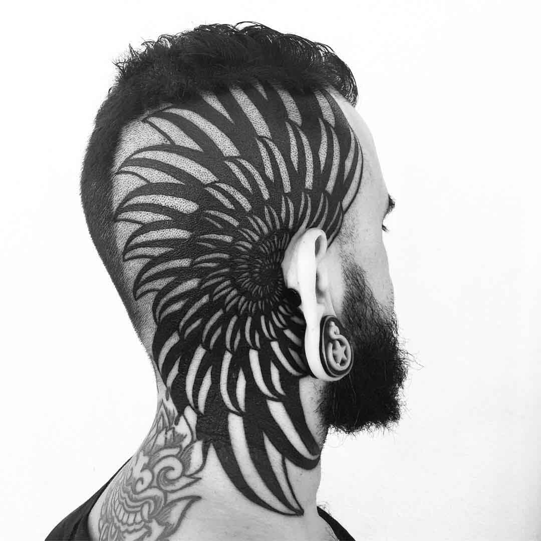head tattoo blackwork