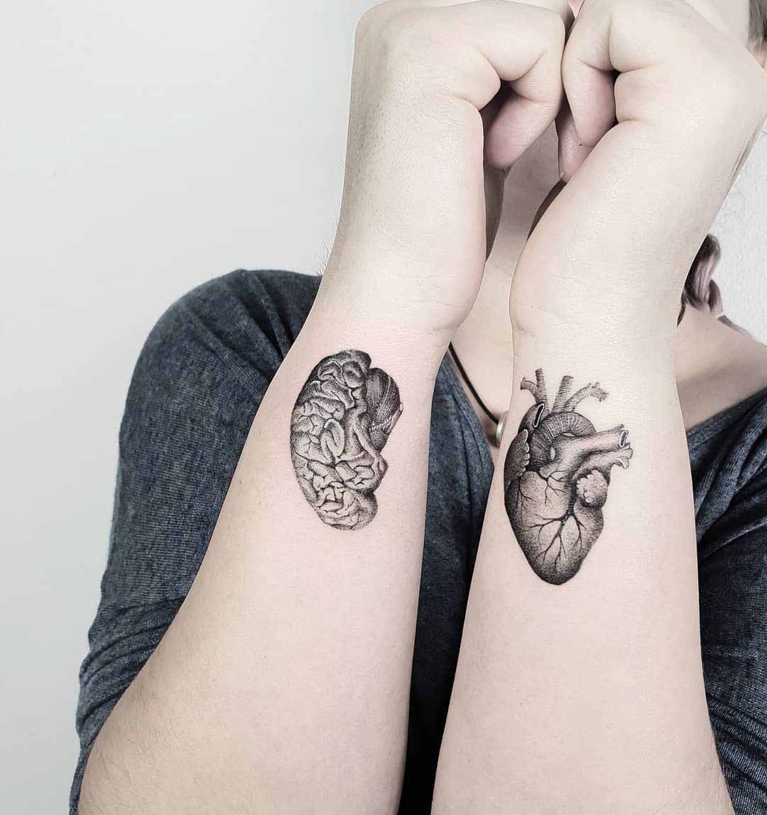 wrist tattoos brain and heart