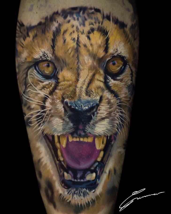 portrait cheetah tattoo