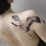 Crane Tattoo on Shoulder Blade
