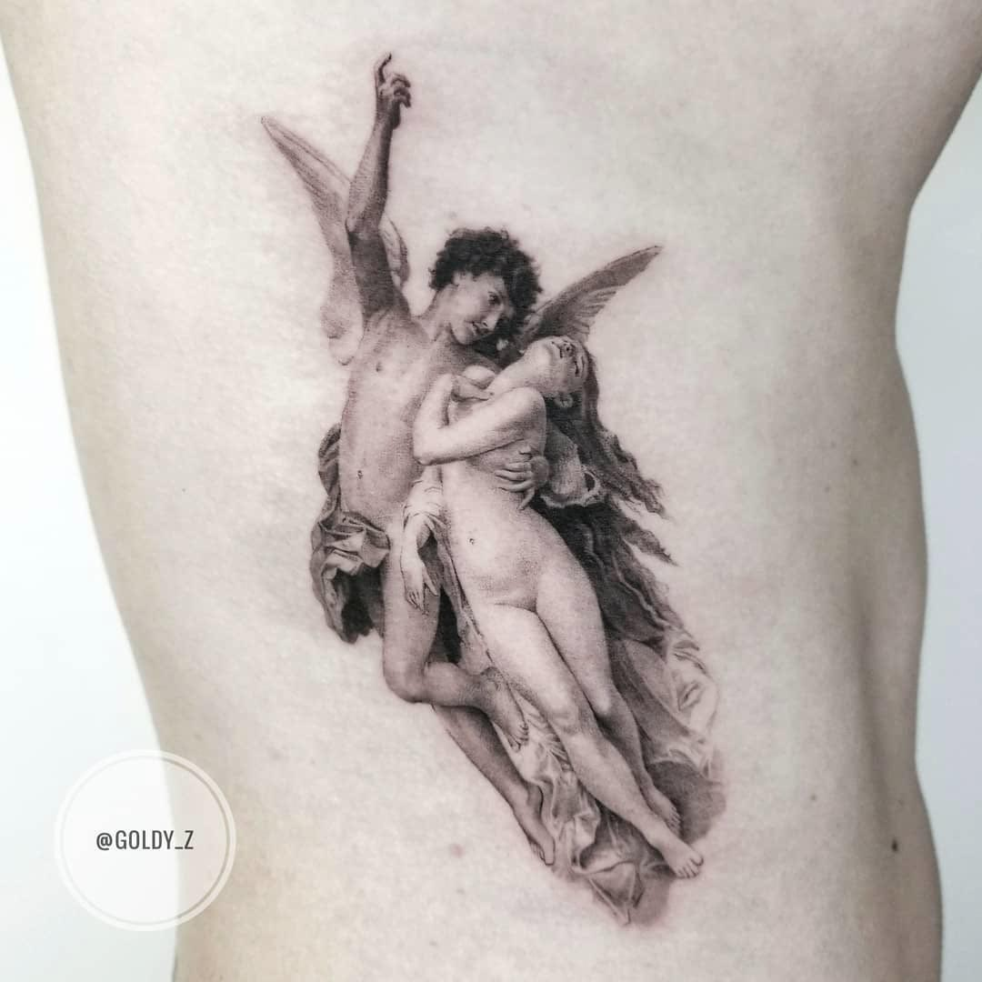 ribs tattoo cupid and psyche