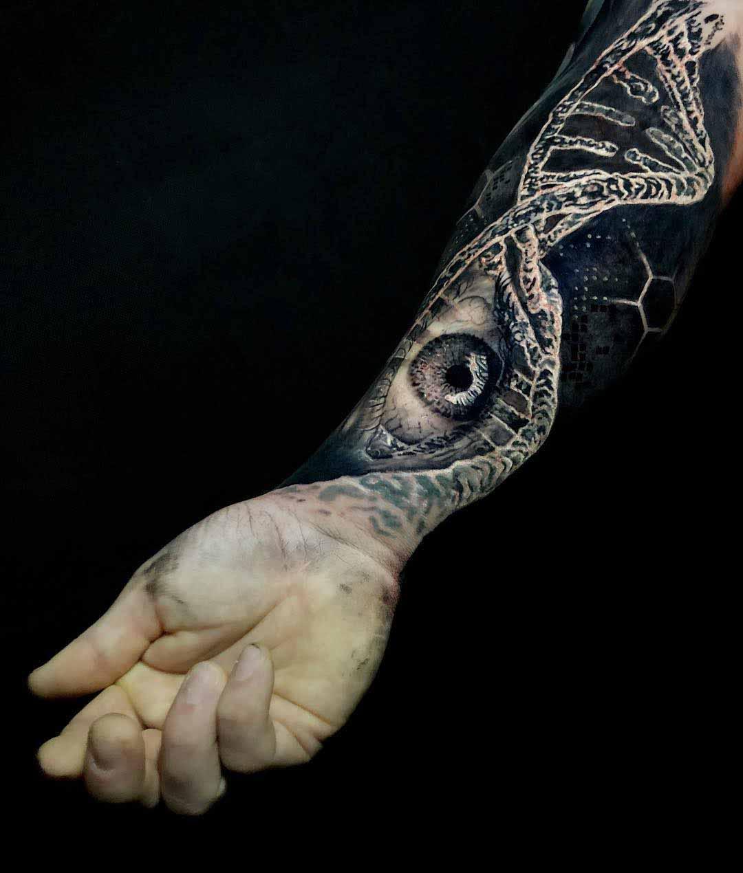 arm tattoo DNA eye