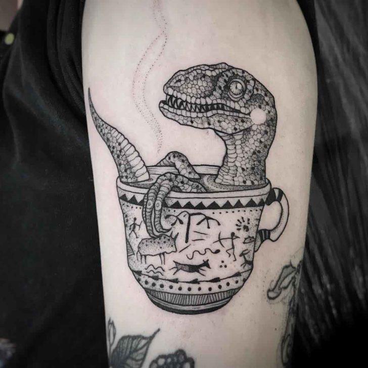 tea cup tattoo dinosaur
