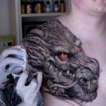Front Shoulder Dragon Tattoo