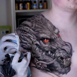 Front Shoulder Dragon Tattoo