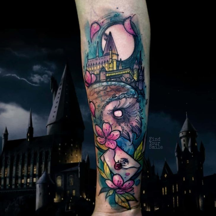 watercolor tattoo hogwarts