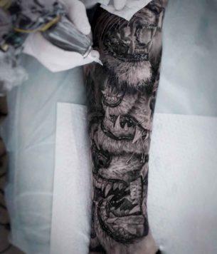 Lion Jaws Tattoo