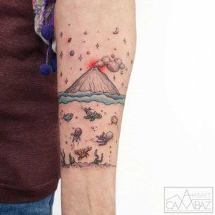Ocean Voclano Tattoo