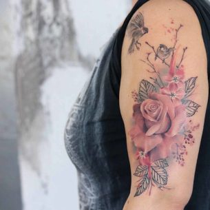 Pink Soft Rose Tattoo