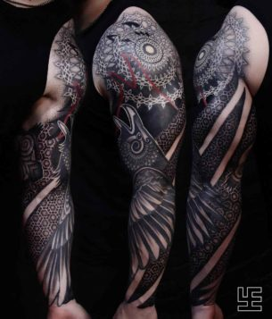 Raven Tattoo Sleeve Ornament