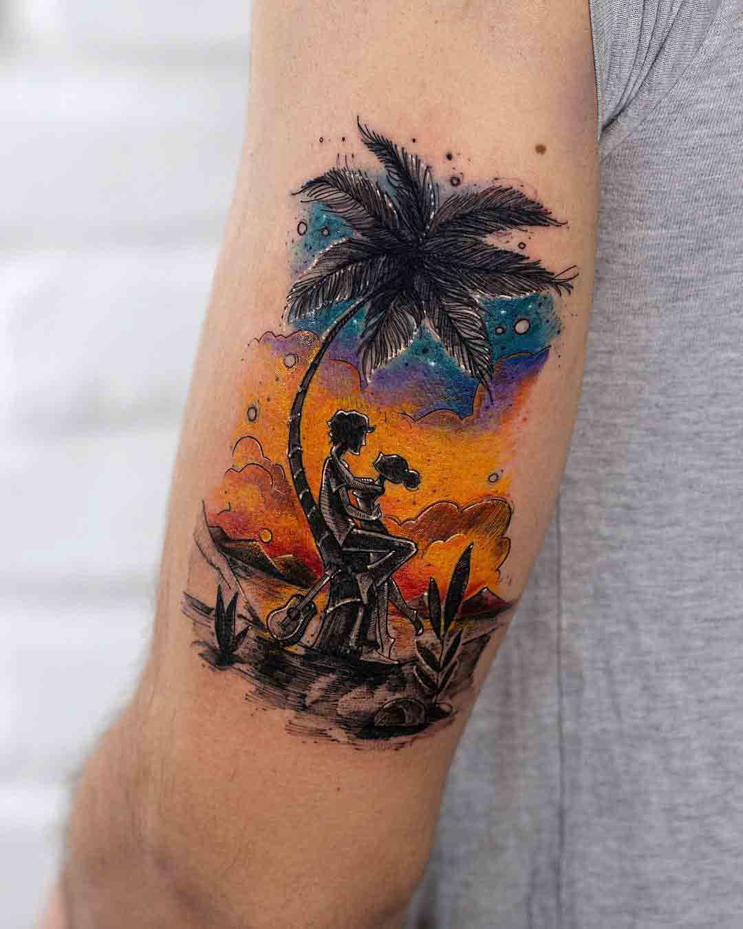 sunset island tattoo