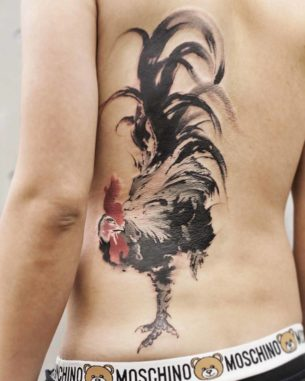 Rooster Back Tattoo