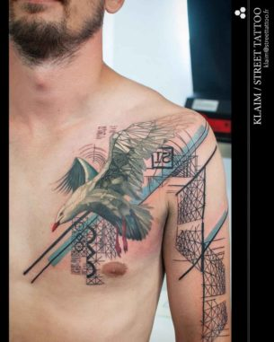 Seagull Tattoo on Chest