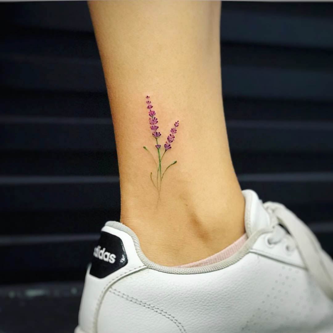 ankle tattoo flower lavender