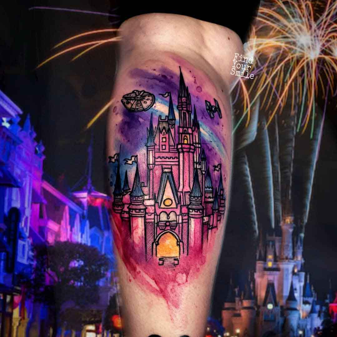 castle tattoo watercolor style