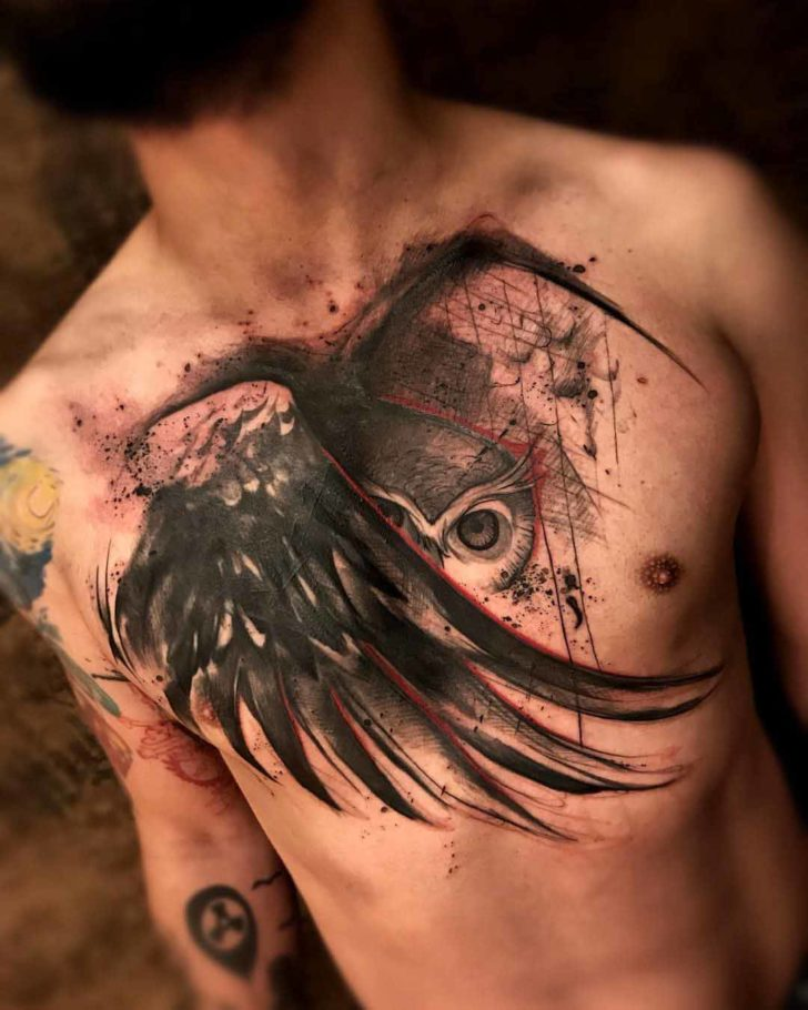 chest tattoo owl