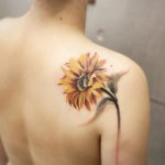 Sun Flower Tattoo on Shoulder Blade