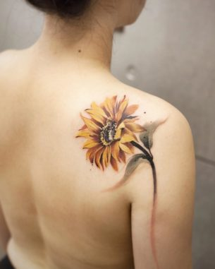 Sun Flower Tattoo on Shoulder Blade