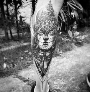 Buddha Tattoo on Calf