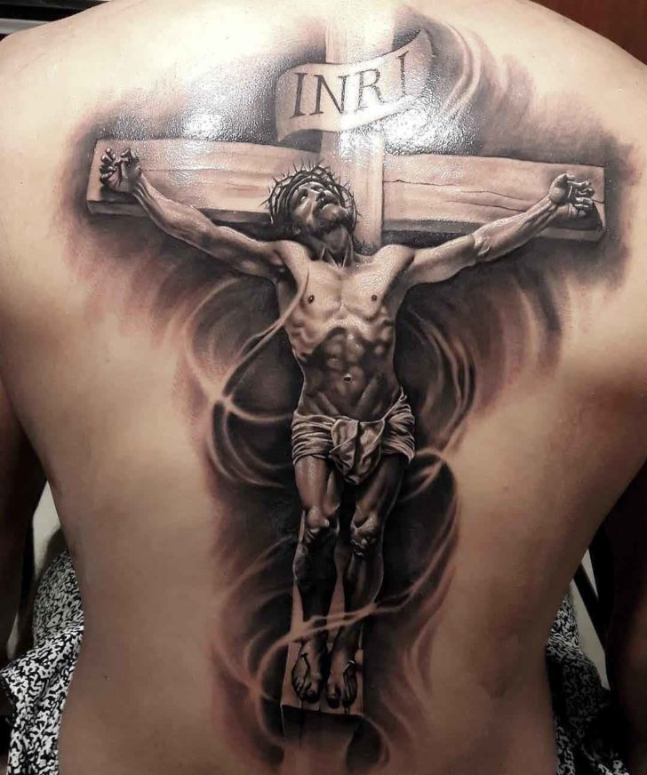 full back tattoo crucifix