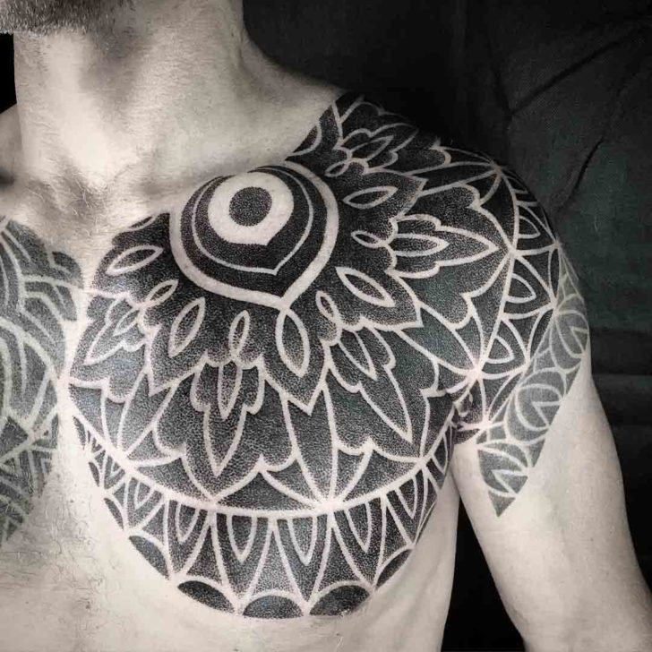 collar bone tattoo dotwork ornament