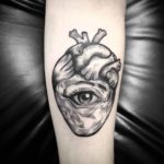 Etching Eye Heart Tattoo
