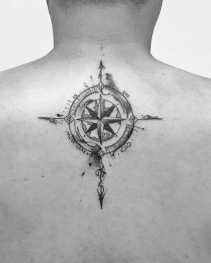 Grey Watercolor Compass Tattoo