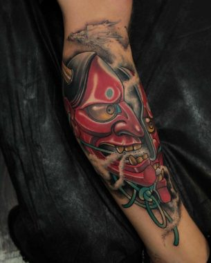 Half Hannya Mask Tattoo