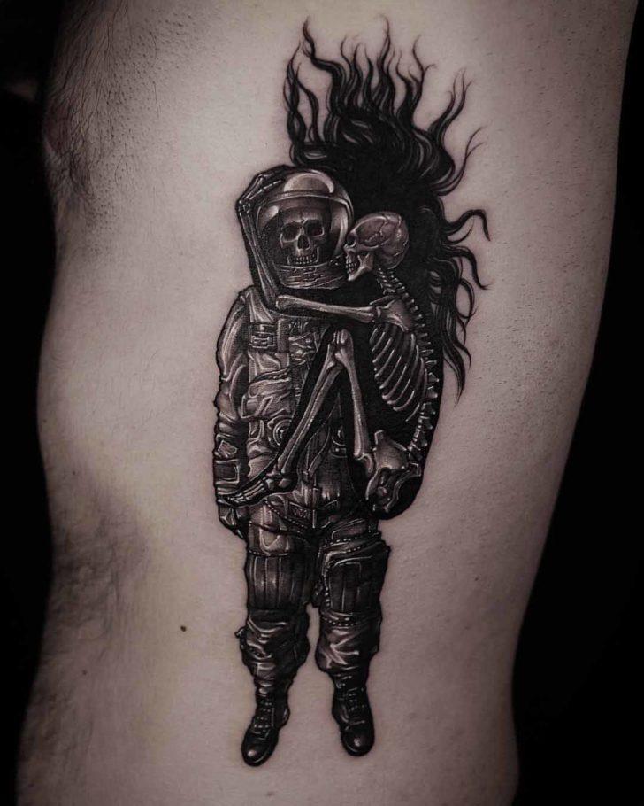 skeletons tattoo astronaut and hug