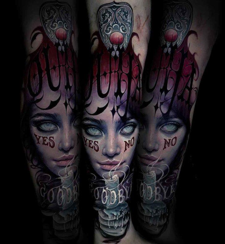 arm tattoo witch tattoo ouija