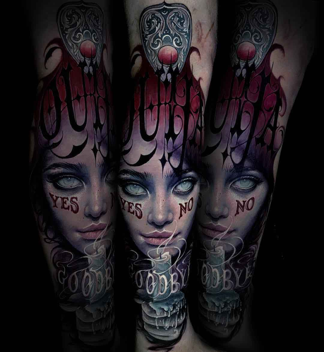 arm tattoo witch tattoo ouija
