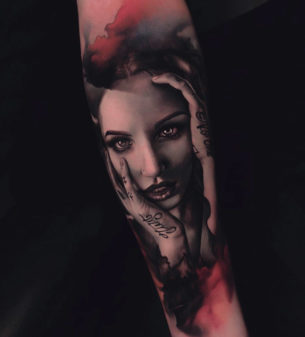 Passionate Girl Portrait Tattoo