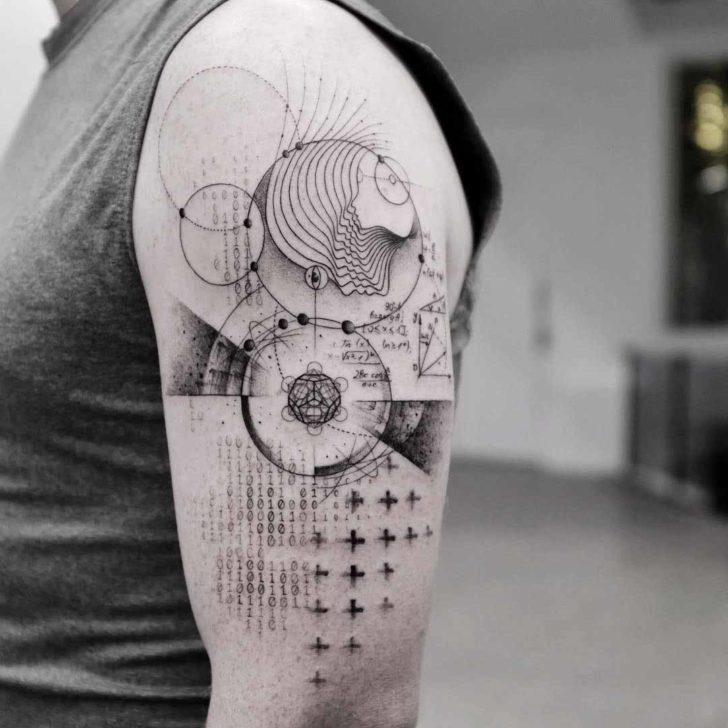 shoulder tattoo pi number