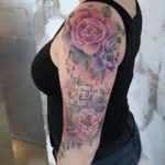 Shoulder Purple Flowers Tattoo