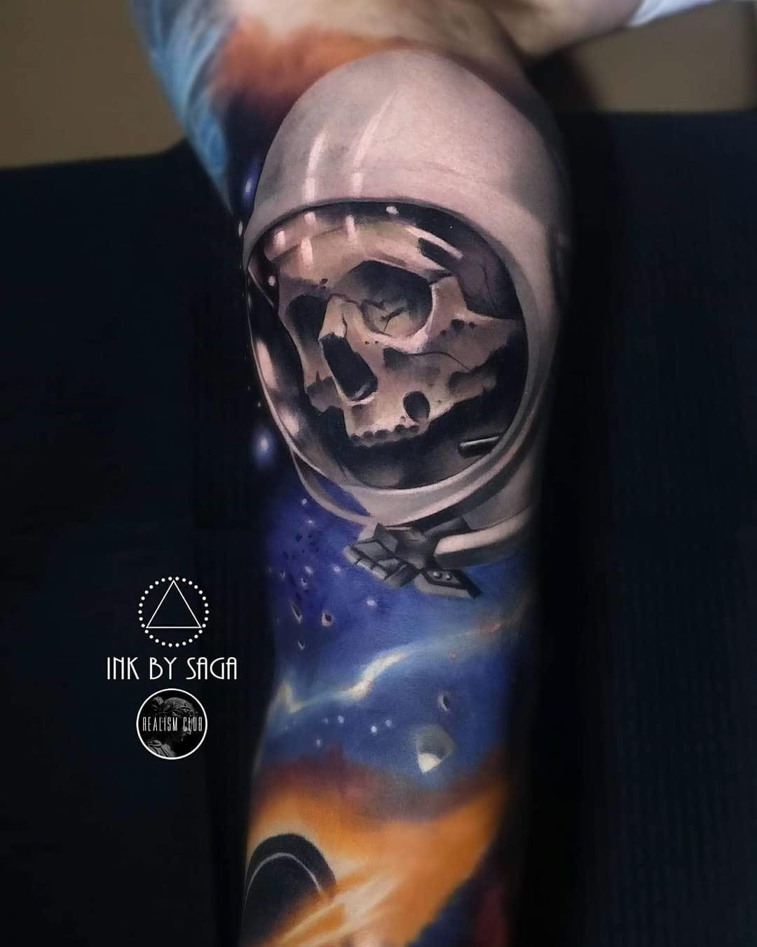 skull in space tattoo