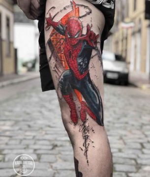 Spiderman Tattoo on Thigh