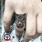 Tiger Face Tattoo on Finger