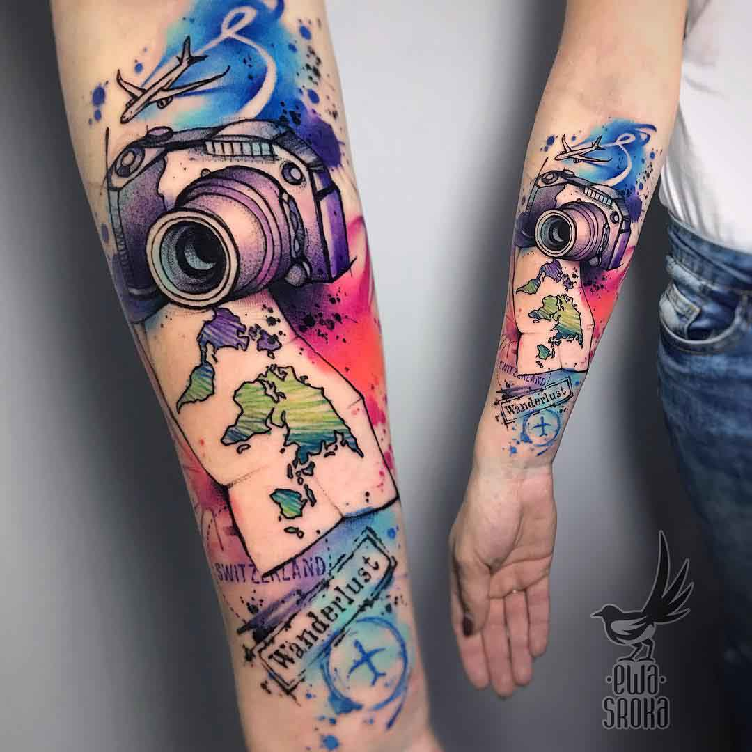 arm tattoo sleeve camera and map