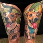Two Dogs Tattoos on Thighs