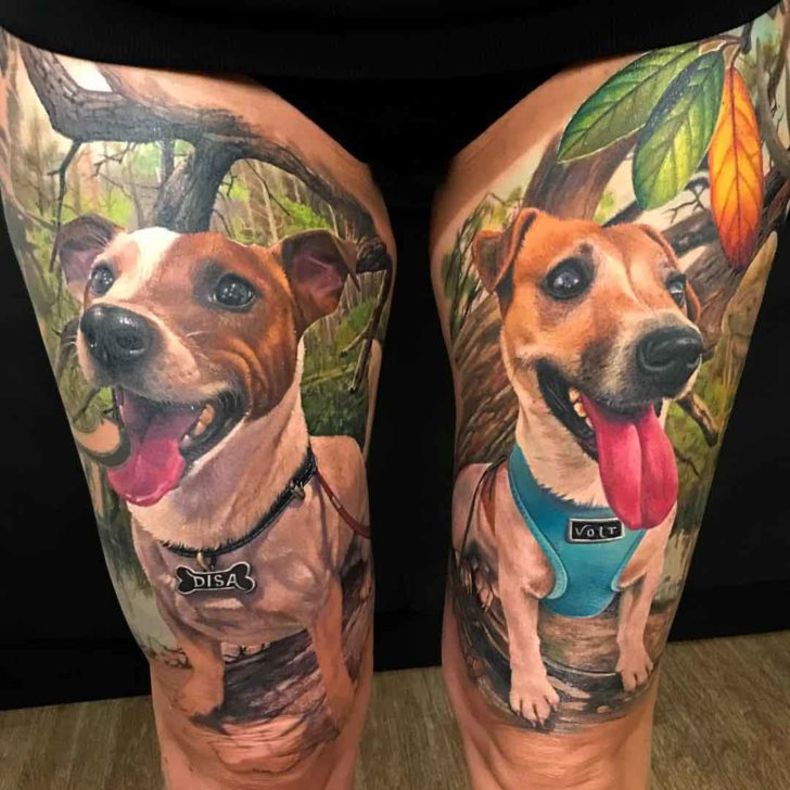 Two Dogs Tattoos On Thighs Best Tattoo Ideas Gallery