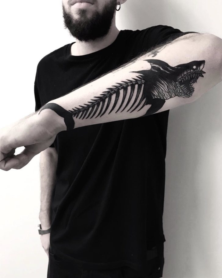 forearm skeleton shark tattoo