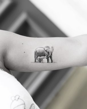 Elephant with Cub Tattoo