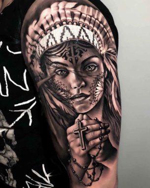 Praying Indian Girl Tattoo