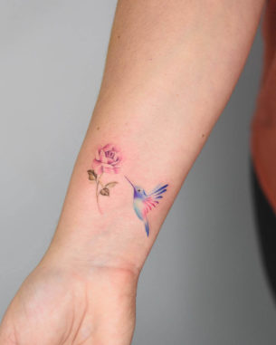 Rose and Hummingbird Tattoo