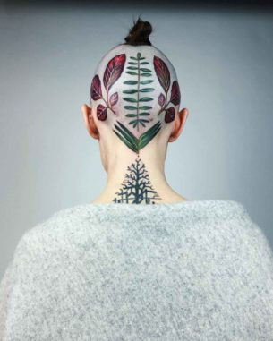 Leaves Tattoo on Head by rit.kit.tattoo